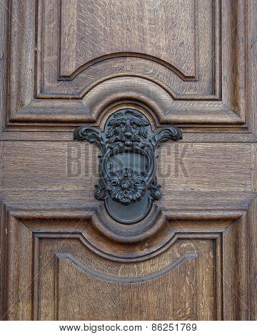 Lion head knocker and wooden door detail