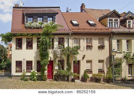 picturesque house facades Altenburg Thuringia Germany