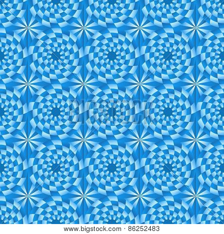 Abstract seamless circle blue mosaic vector pattern.