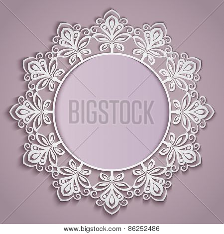 Abstract paper flower round frame vector template.