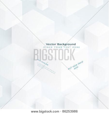 Vector 3d illustration white cubes