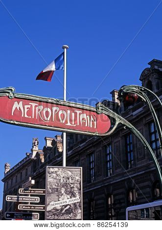 Metro sign, Paris.