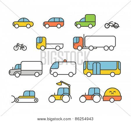 Different transport silhouette icons collection. Design elements