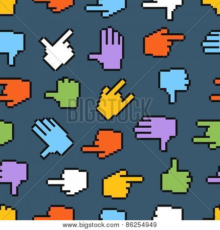 Pixel hand cursors seamless pattern
