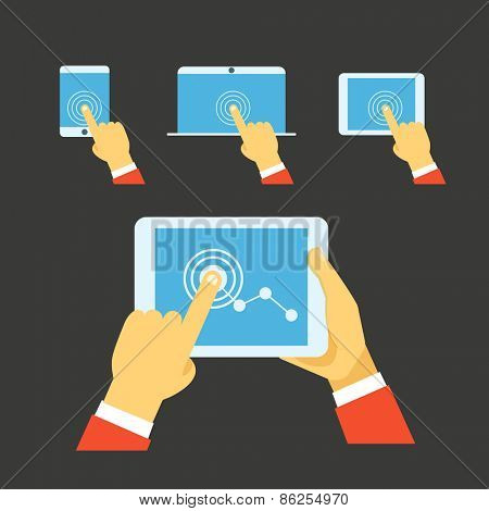 Using modern digital gadgets. Flat iillustration set