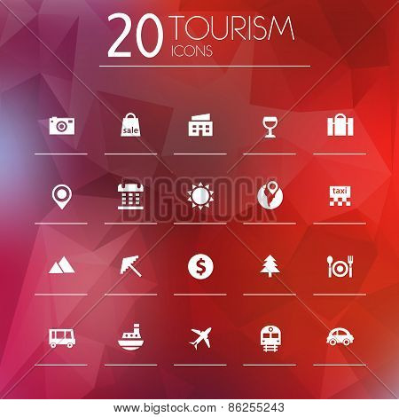 Tourism icons on blurred background