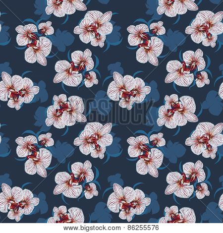 Seamless Flower Orchid  Pattern