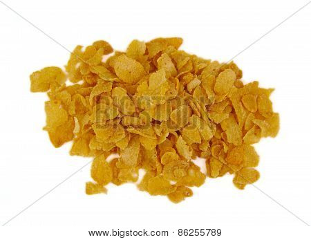 Bunch of corn flake cereals on a white background