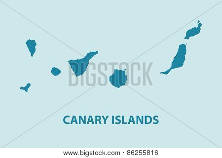 Canary Islands Map Vector Very Detailed