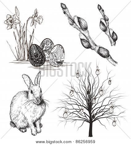 Easter rabbit, buds, narcissus and tree
