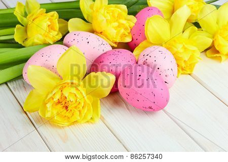 Easter Eggs With Yellow Narcissus