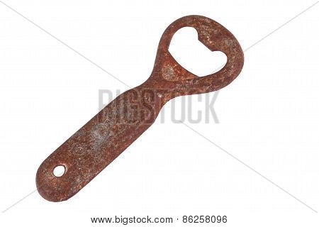 The Rusty Bottle Opener On White Background