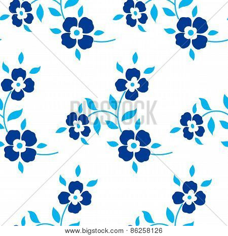 Seamless floral pattern. Blue flowers, leaves, foliage