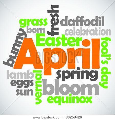 April Text Vector
