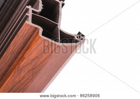 The Single Pvc Corner Wood Decor On The White Background