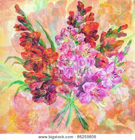 Bouquet Of Gladiolus Flowers