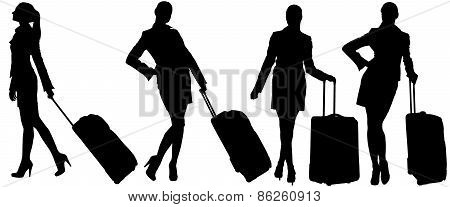 Silhouettes of womans with bags