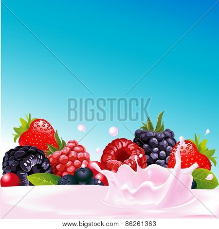 Forest Fruit With Yogurt Splash - Vector Illustration