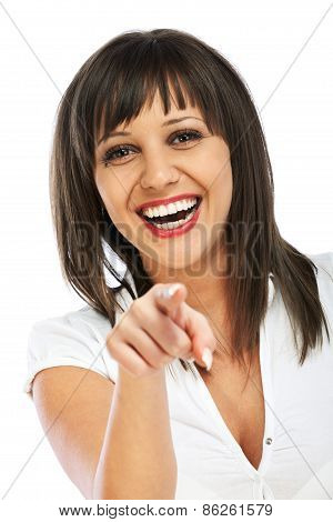 Cheerful Woman Points At Camera