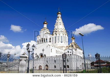New Cathedral At Minsk. The Church Of All Saints. Belarus. Unique Monument Of White-stone Architectu
