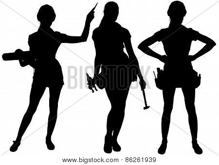 Female silhouettes with tools