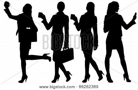 Business woman silhouette with briefcase