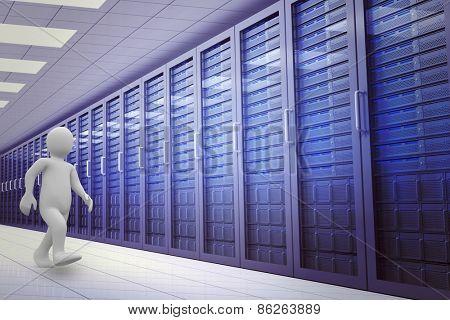 White character walking against server room