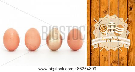 happy easter graphic against wooden planks