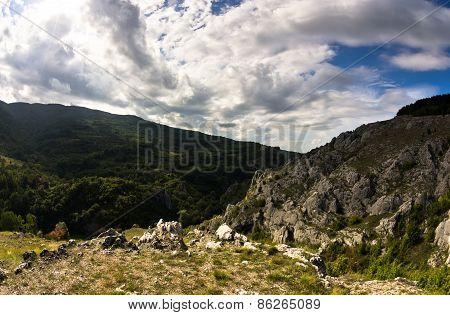 Landscape of Jelasnica gorge plateau at cloudy autumn afternoon