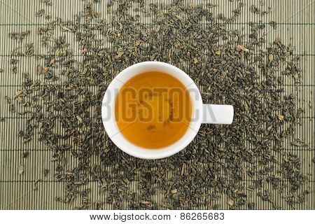 White cup of black tea