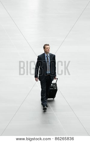 Isolated Businessman Traveling With Trolley  International Concept