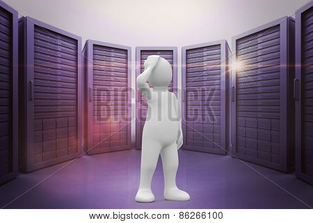 White character thinking against server room with towers