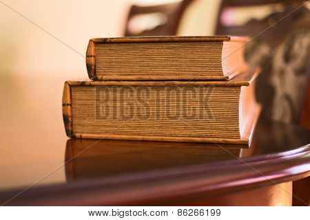 Soft lighted books on table