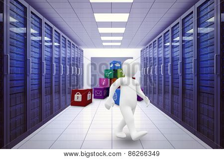 White character walking against server room with towers