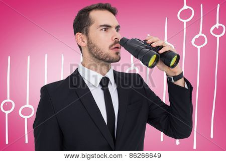Surprised businessman standing and holding binoculars against pink vignette