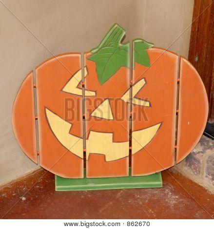 Wooden Pumpkin Face