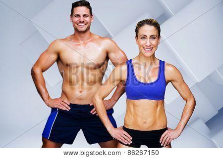 Bodybuilding couple against white tile design