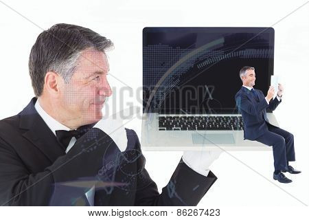 Businessman reading against stocks and shares