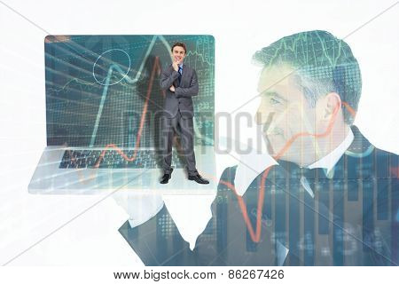 Thinking businessman against stocks and shares on black background