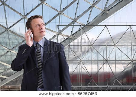 businessman looks to the future