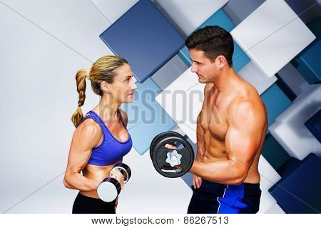Bodybuilding couple against blue and white tile design