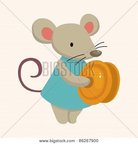Animal Mouse Playing Instrument Cartoon Theme Elements