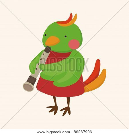 Animal Bird Playing Instrument Cartoon Theme Elements