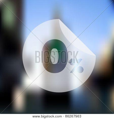 Sale Discount Zero Percent Button On Blurred Background
