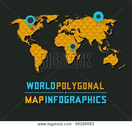 Retro polygonal world map