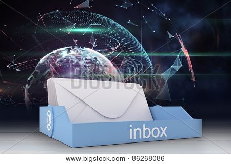 Blue inbox against outer space in room