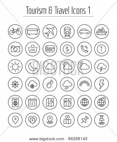 Travel, tourism and weather icons