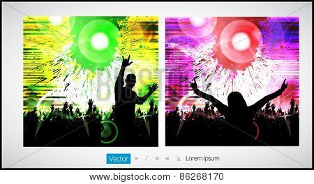 Disco party, poster, vector
