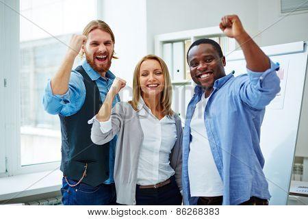 Business team enjoying success