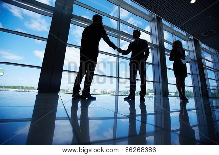 Male office workers standing by the window and handshaking with their colleague near by